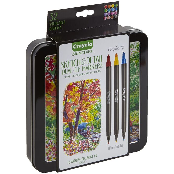 Crayola Signature Sketch Detail Markers 16 Pack Officeworks
