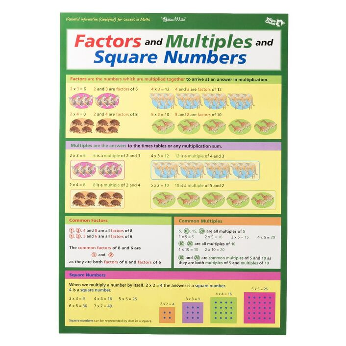 Gillian Miles Times Tables Factors And Multiples Wall Chart