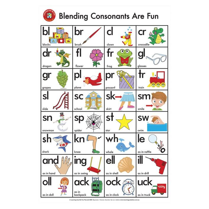 Learning Can Be Fun Wall Chart Blending Consonants Are Fun Officeworks
