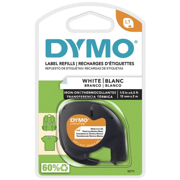 Dymo Letratag Iron On Tape 12mm Black On White Officeworks