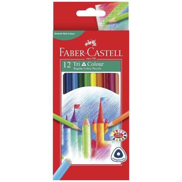 Faber-Castell Triangular Coloured Pencils 12 Pack