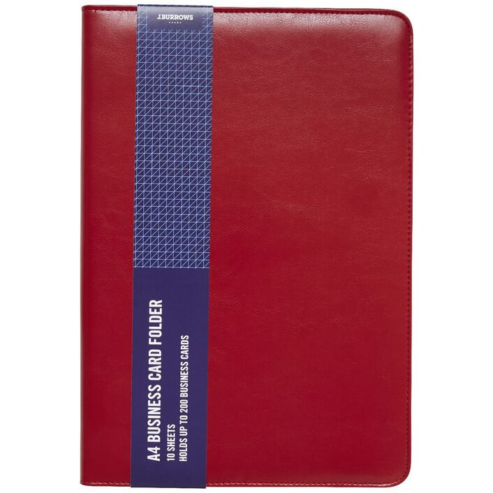 J.Burrows A4 Business Card Folder Red | Officeworks