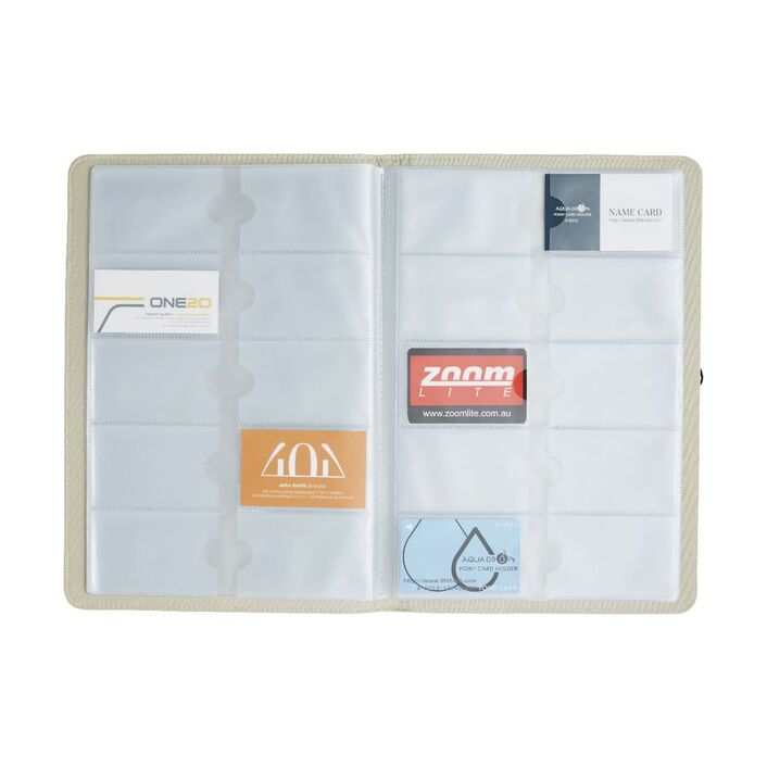 Otto A4 Linen Business Card Folder Cream | Officeworks