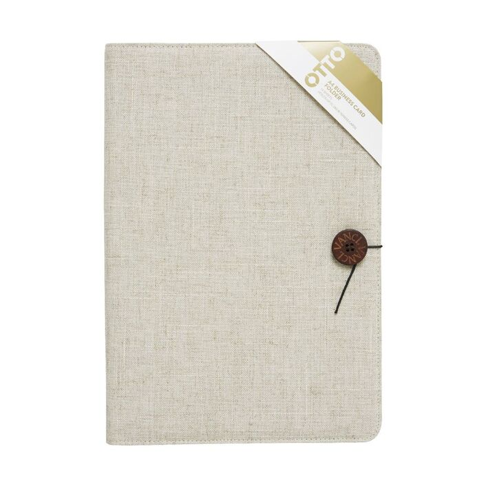 Otto A4 Linen Business Card Folder Cream | Officeworks