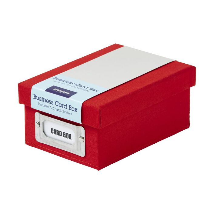 J.Burrows Business Card Storage Box Red | Officeworks
