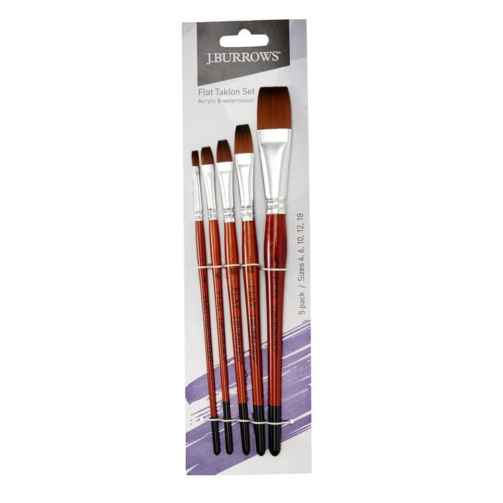 j burrows flat taklon paintbrush 5 pack officeworks