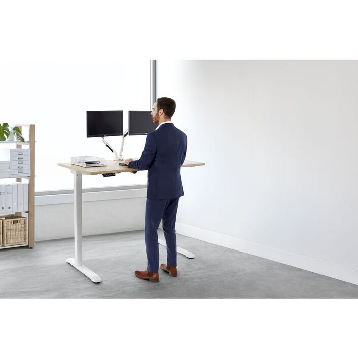 desk adjustable more ergonomics standing no riser pain products height