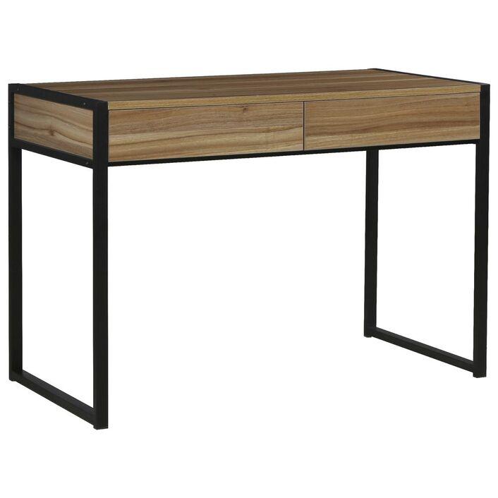 sheffield 2 drawer desk black walnut officeworks