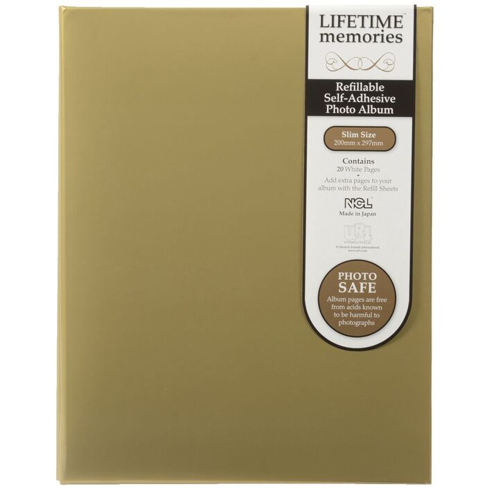 Ncl 20 Page Refillable Self Adhesive Photo Album Gold Officeworks