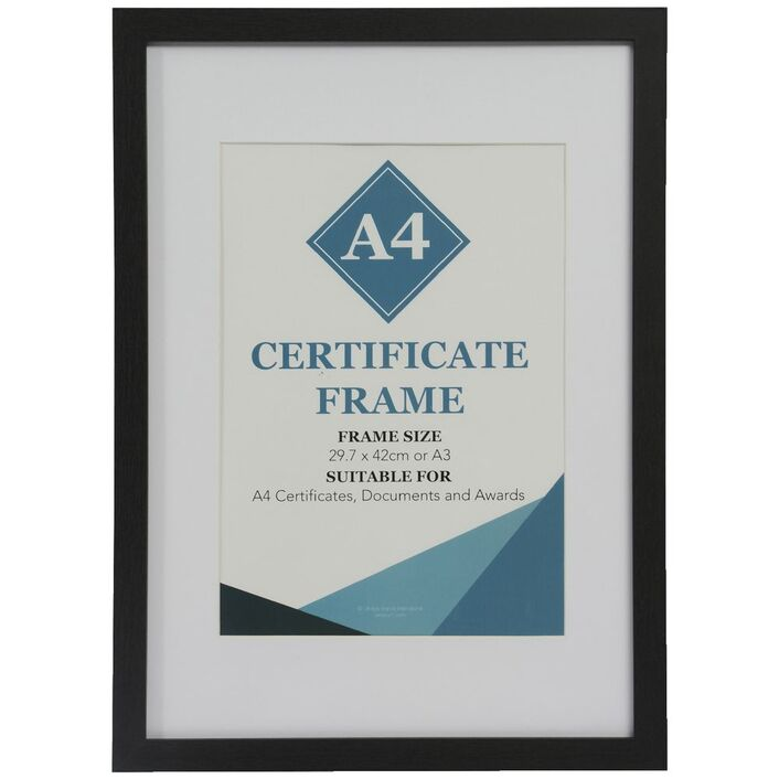 Certificate Frame A3 with A4 Opening Black | Officeworks
