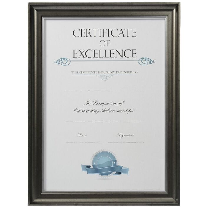 Certificate Frame A3 Black with Silver Edge | Officeworks