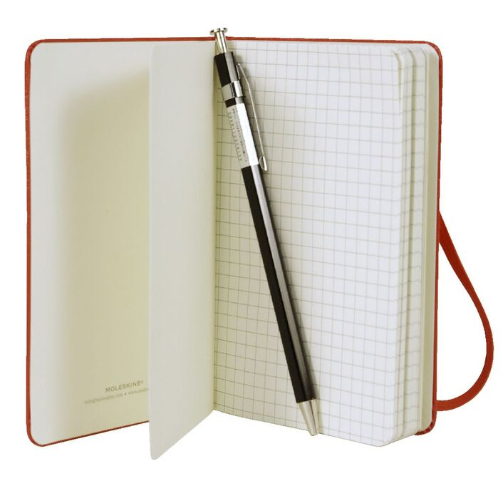 moleskine hard cover squared notebook red