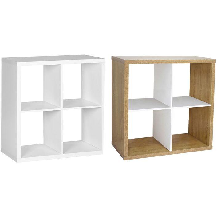 Horsens 4 Cube Bookcase Oak and White   Officeworks