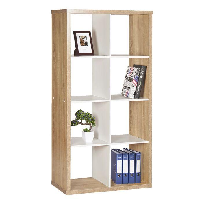 Horsens 8 Cube Bookshelf Oak and White   Officeworks