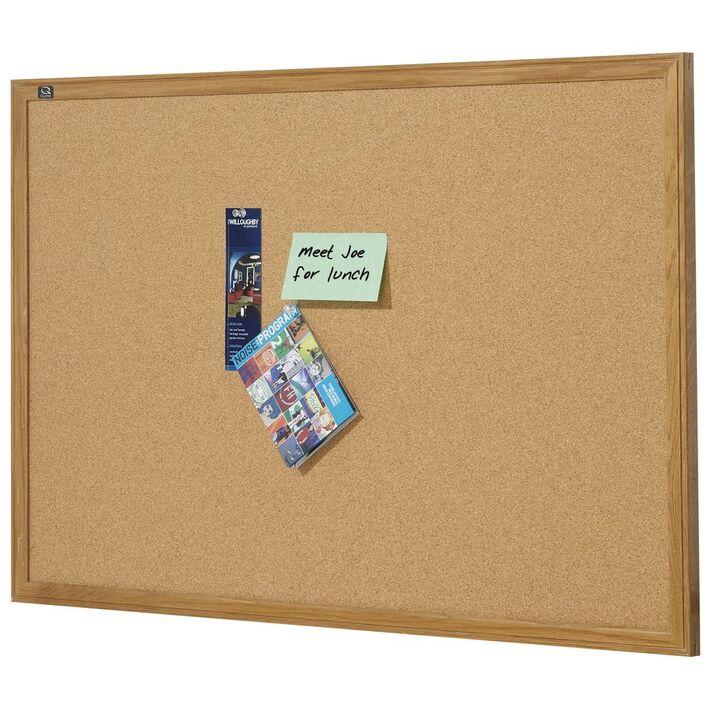 Quartet Oak Frame Cork Board 900 x 600mm   Officeworks