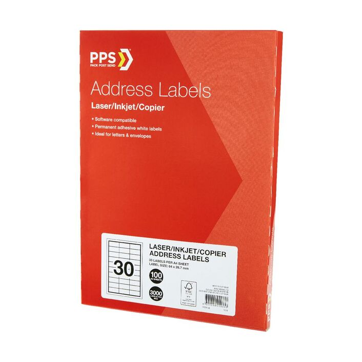 pps mailing labels 30 up 100 pack officeworks