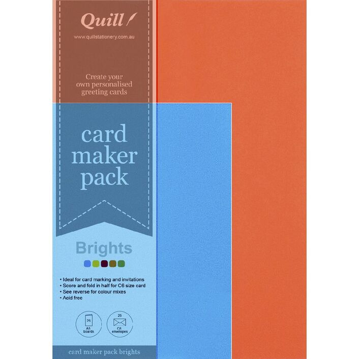 Quill card pack brights assorted 25 pack officeworks quill card pack brights assorted 25 pack stopboris Choice Image