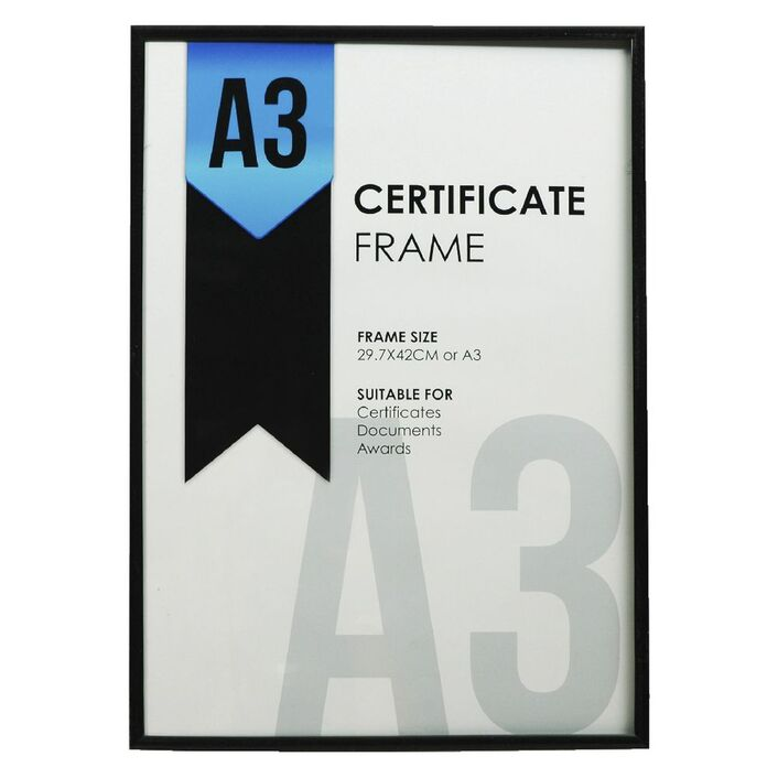 A3 Certificate Frame Black | Officeworks