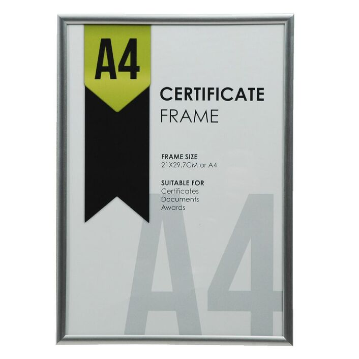 A4 Certificate Frame Silver | Officeworks