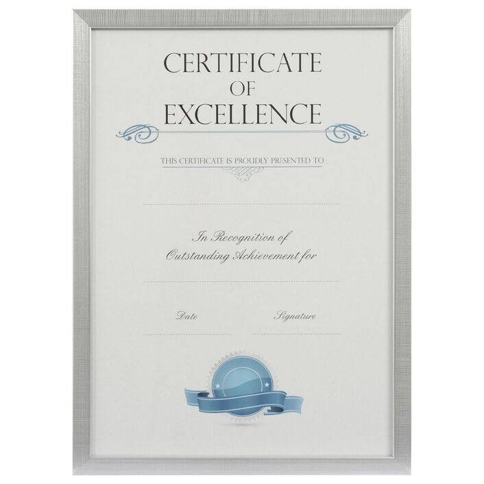 A3 Certificate Frame Brushed Silver | Officeworks