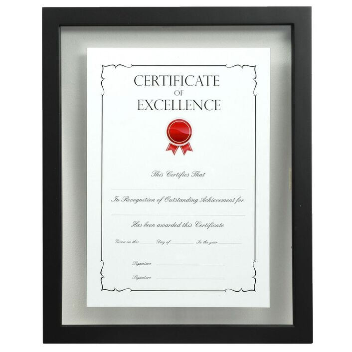 A4 Floating Certificate Frame Black | Officeworks