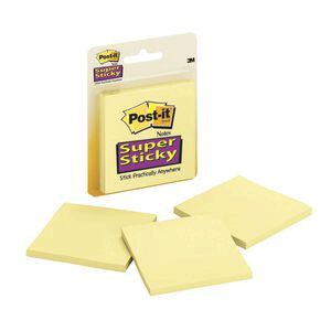Post It Super Sticky Notes Yellow 3 Pack Officeworks