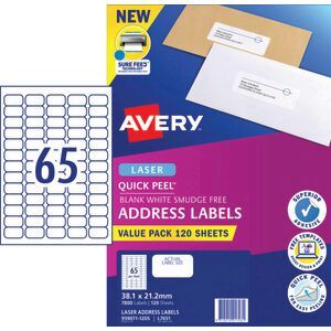 Avery 65UP Laser Address Labels with Sure Feed 120 Sheets | Officeworks