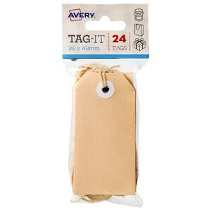 avery tag it with string 96 x 48mm peach 24 pack officeworks