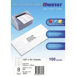 unistat printable labels 100 sheets 8 per page officeworks
