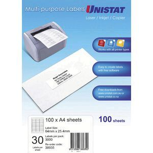 unistat printable labels 100 sheets 30 per page officeworks