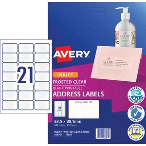 avery inkjet mailing labels clear 25 sheets 21 per page officeworks