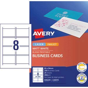 Avery business cards matt photo sheets 200 pack officeworks avery business cards matt photo sheets 200 pack reheart Image collections