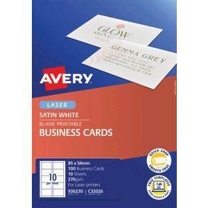 Avery Satin Finish Business Cards 85 X 54mm 100 Pack