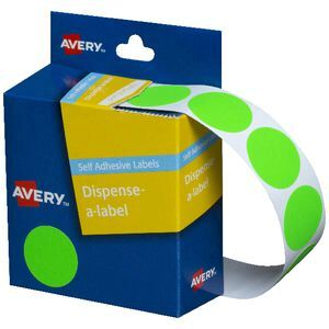 Avery Self-adhesive Round Labels Fluro Green 24mm 350 Pack