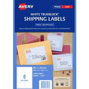 avery laser shipping labels white 100 sheets 8 per page officeworks