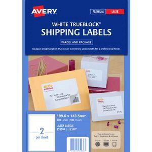 avery laser shipping labels white 100 sheets 2 per page officeworks