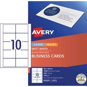 Avery business cards matt white 100 sheets 10 per page officeworks avery business cards matt white 100 sheets 10 per page reheart Image collections