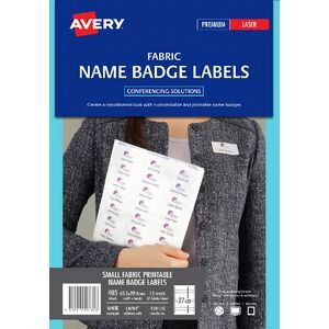 avery fabric laser name badge labels 15 sheets 27 per page officeworks