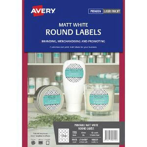 Avery 12UP Removable Round Labels White 10 Sheets | Officeworks
