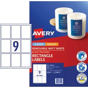 Avery Removable Labels 62 x 89mm White 90 Pack   Officeworks