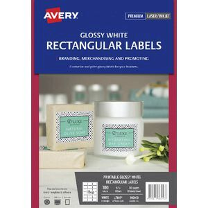 avery print to the edge rectangle labels gloss white 180 pack