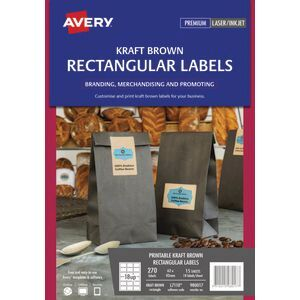 Avery 18UP Rectangle Labels Kraft Brown 15 Sheets