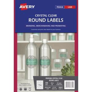 avery crystal clear round labels transparent 120 pack officeworks
