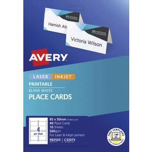avery folded place cards 85 x 50mm 40 pack - Folded Place Cards