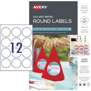 Avery Gloss Round Labels 60mm 60 Pack