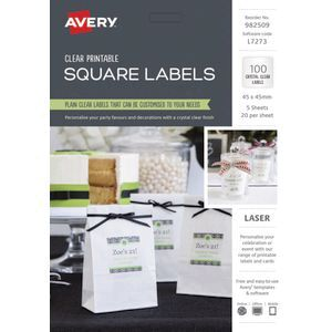 avery crystal clear square labels 45 x 45mm 100 pack officeworks