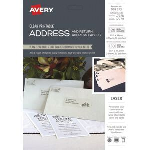 avery crystal clear address labels kit 258 pack officeworks