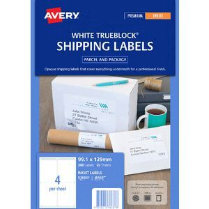 avery mailing labels 50 sheets 4 per page white officeworks