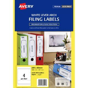 avery laser lever arch labels white 25 sheets 4 per page officeworks