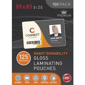 Gbc laminating pouch 59 x 83mm 125 micron gloss 100 pack officeworks gbc laminating pouch 59 x 83mm 125 micron gloss 100 pack reheart Image collections